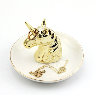 ceramic unicorn ring holder gold