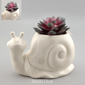 Ceramic Snail Planter Flower Pattern Paint